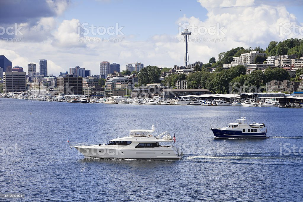 Boating on Lake Union in Seattle stock photo
