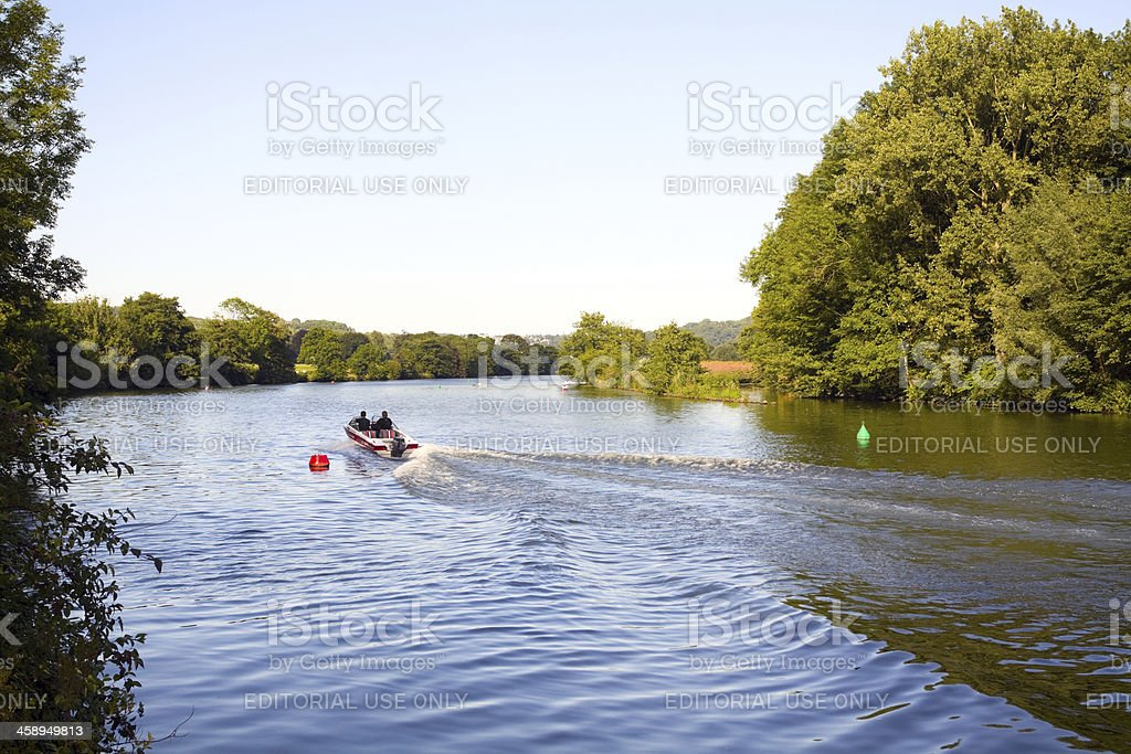 Boating on river Ruhr in sunset stock photo