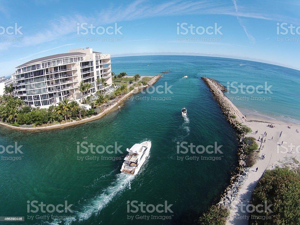 Boating on the Florida waterways stock photo