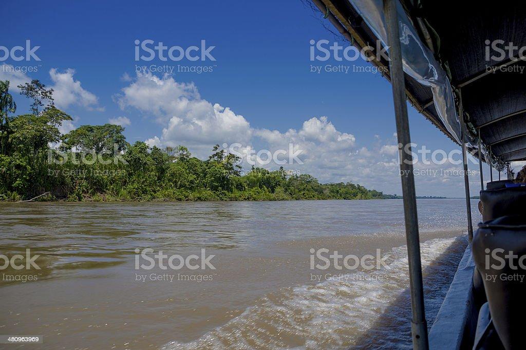 Boating on the Rio Napo River, Ecuadorian Amazon stock photo