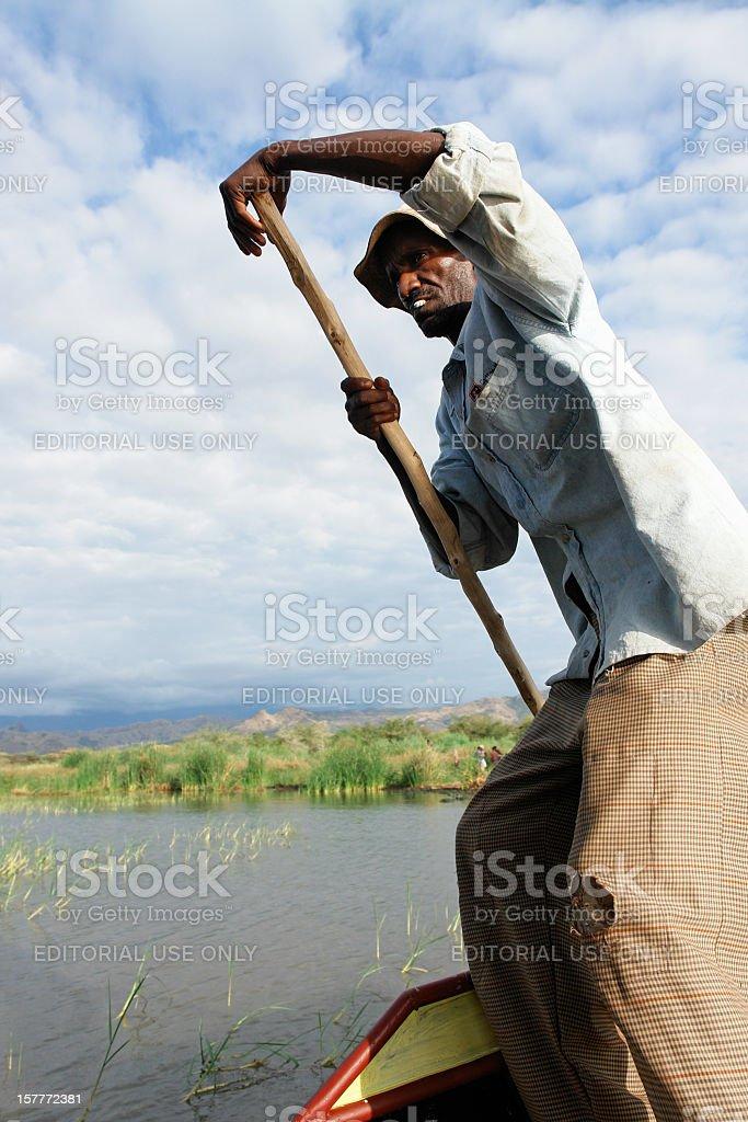 Boatman at Abaya Lake stock photo