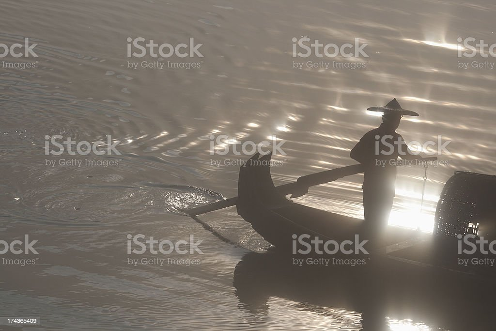 Boatman at the helm royalty-free stock photo