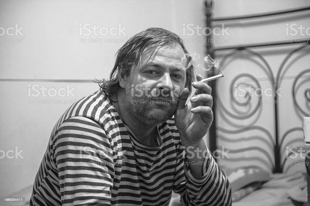 Boatman with a cigarette royalty-free stock photo