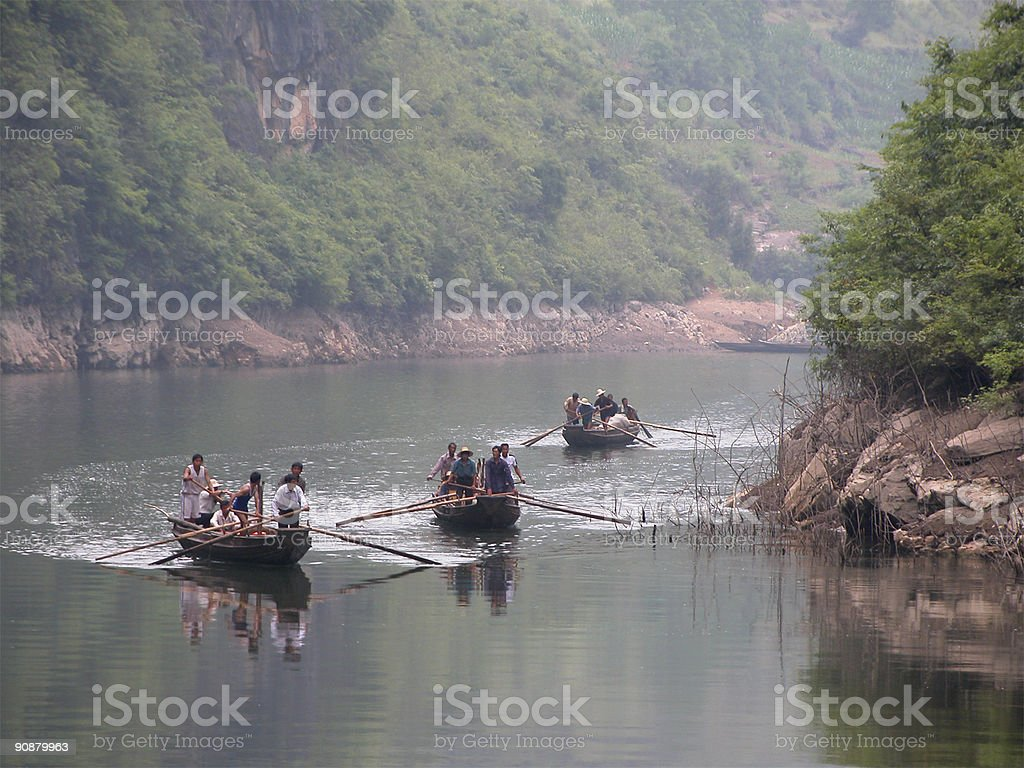 Boatmen on Shennong Stream. stock photo