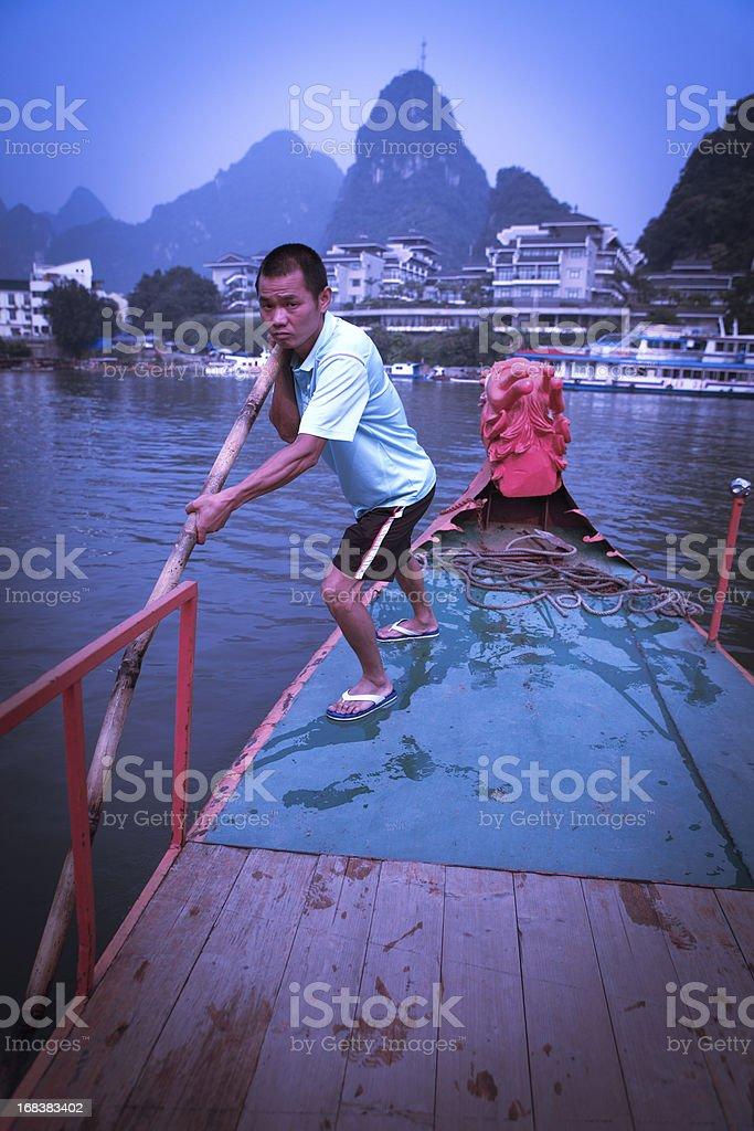 Boatmen on the Lijiang River stock photo