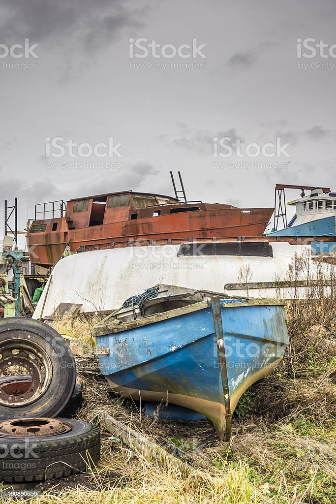 Boats, Abandoned, Decaying, rotting stock photo