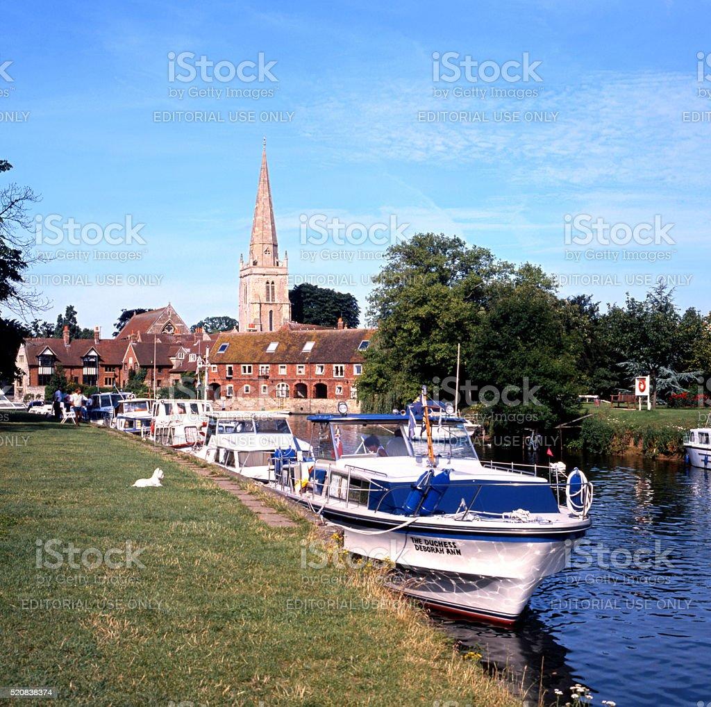 Boats along the River Thames, Abingdon. stock photo