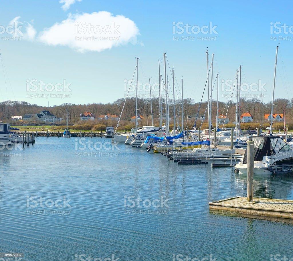 Boats alongside copyspace royalty-free stock photo