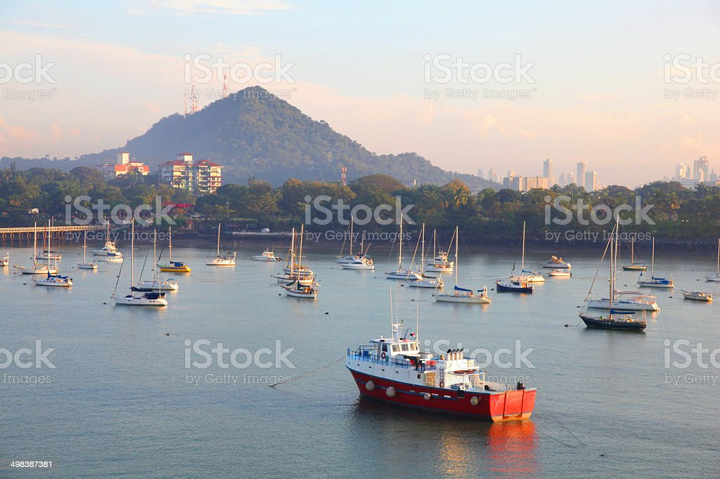 Boats anchored along the Coastline of Panama. stock photo