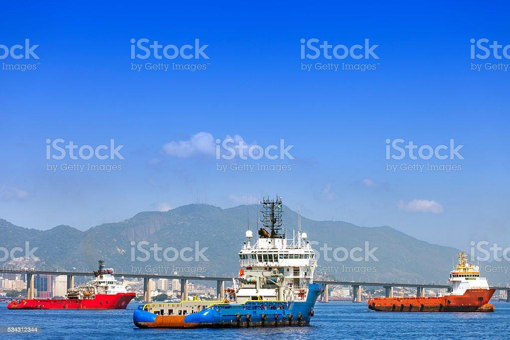 Boats anchored at Guanabara Bay in Rio stock photo