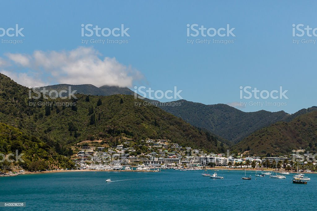 boats anchored at Picton marina in New Zealand stock photo