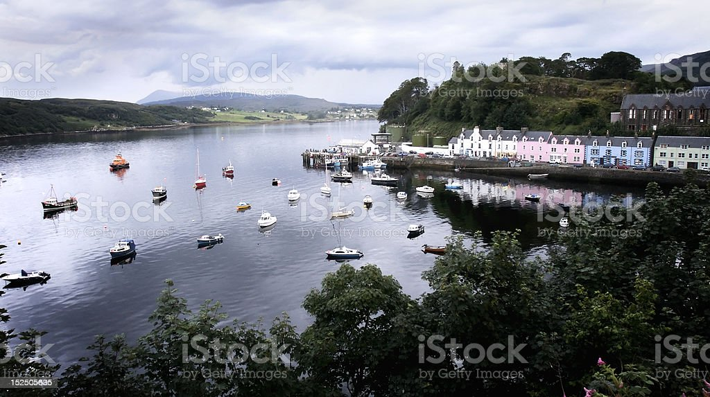 Boats anchored at Portree Harbour royalty-free stock photo