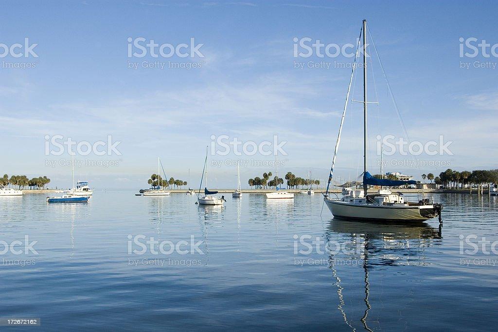 Boats anchored in Marina royalty-free stock photo