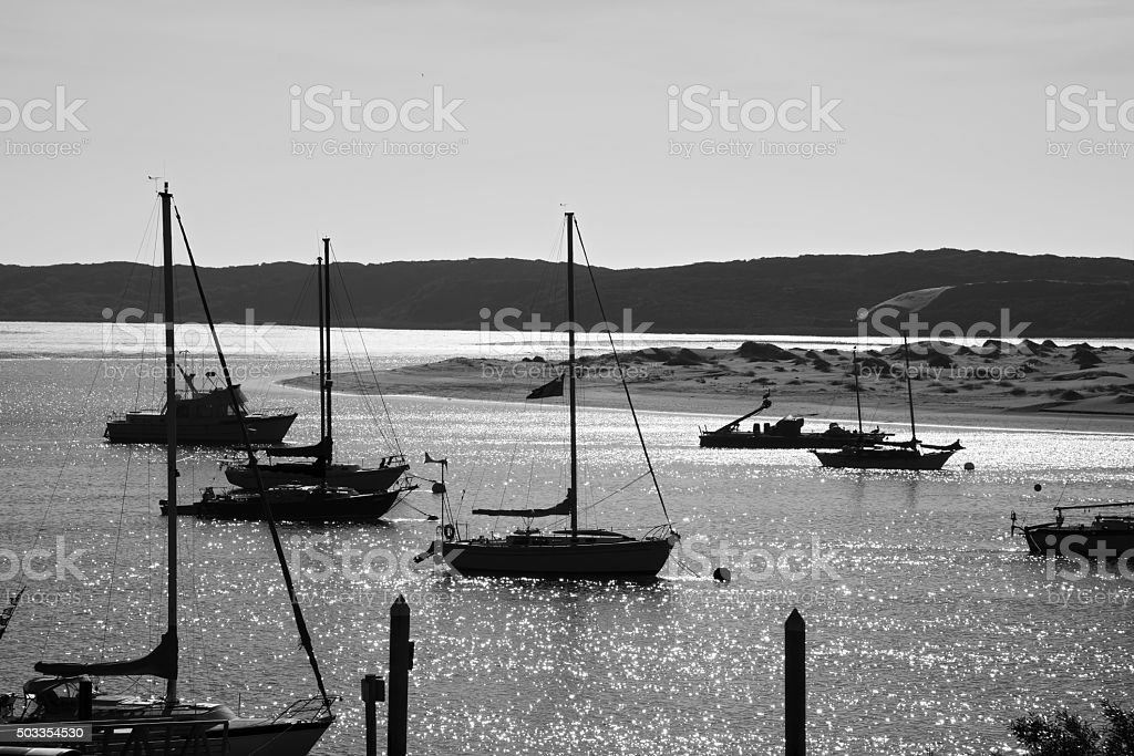 Boats Anchored on Morro Bay stock photo