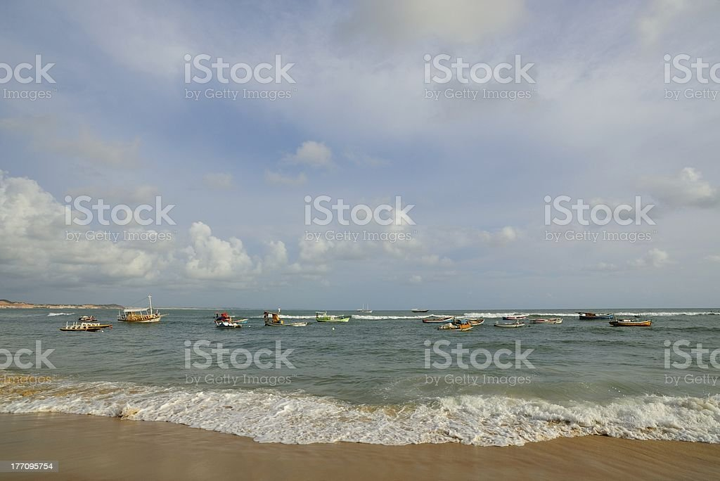 boats anchoring at beach stock photo