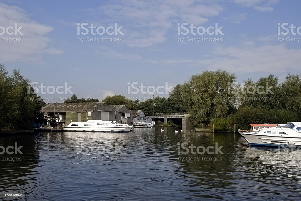 Boats and boathouses stock photo