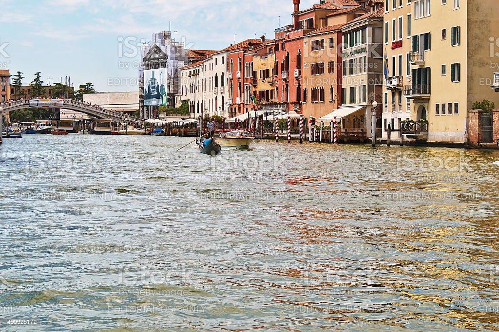 Boats and  bridge Ponte degli Scalzi over the Grand Canal stock photo