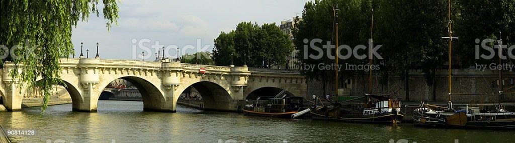 Boats and bridges, Paris royalty-free stock photo