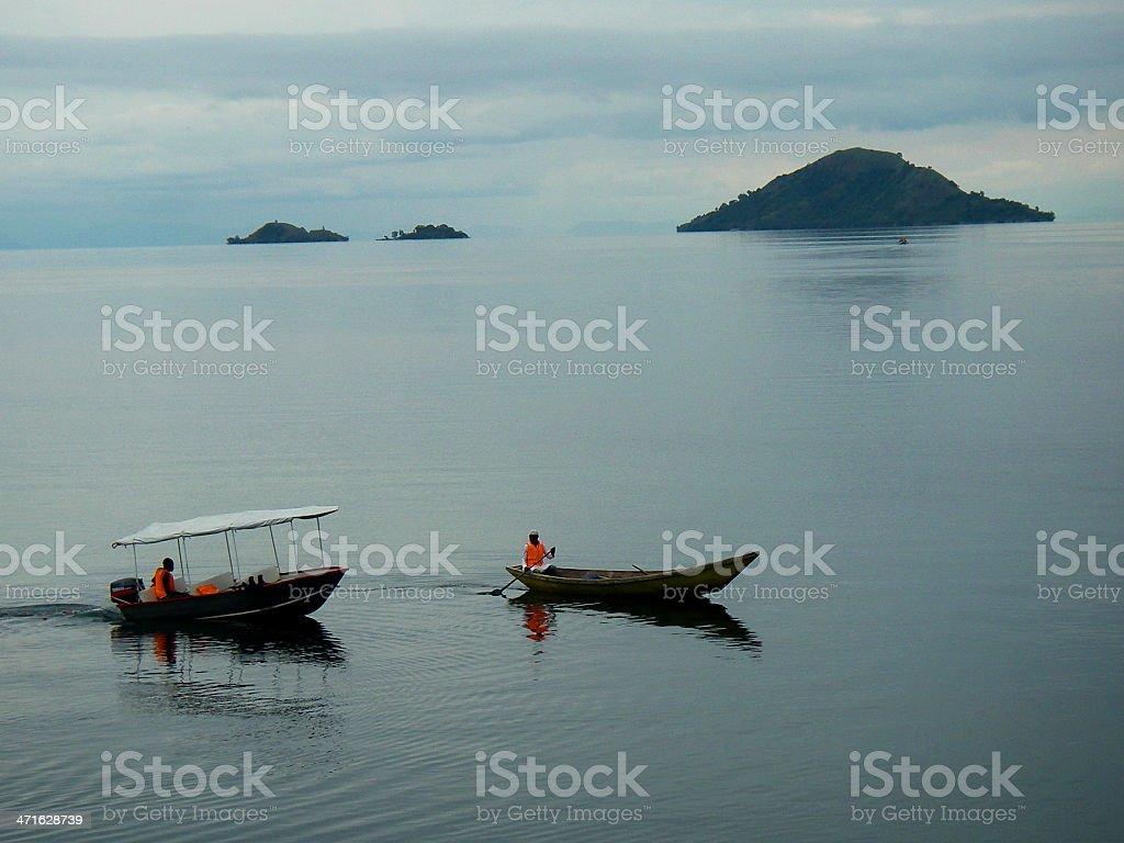 Boats and Cinder Cones Lake Kivu Bethanie Inn Kibuye Rwanda stock photo