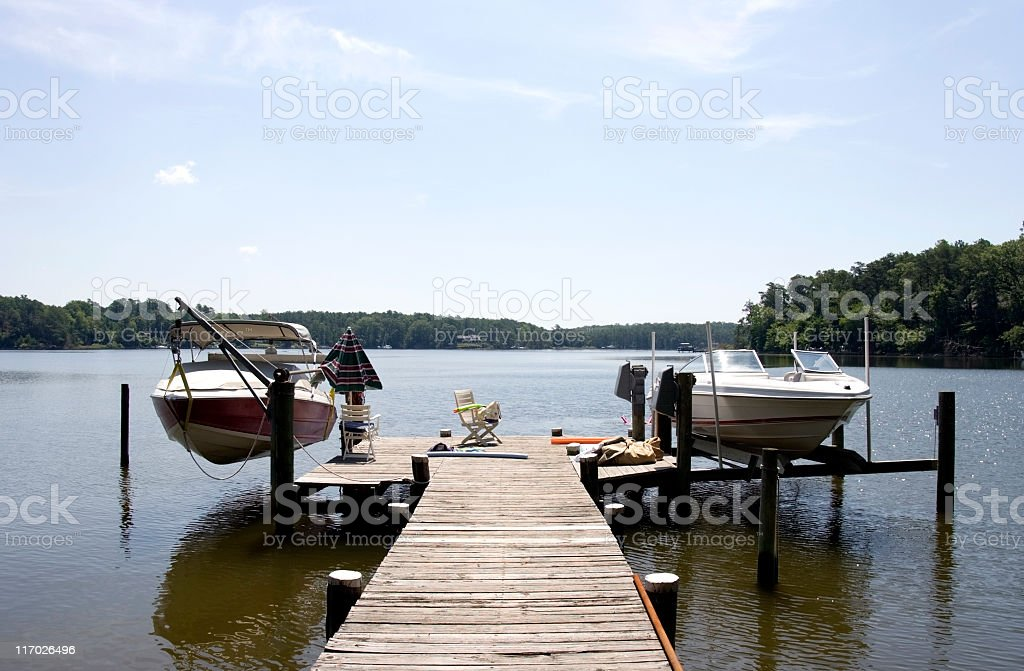 Boats and dock stock photo
