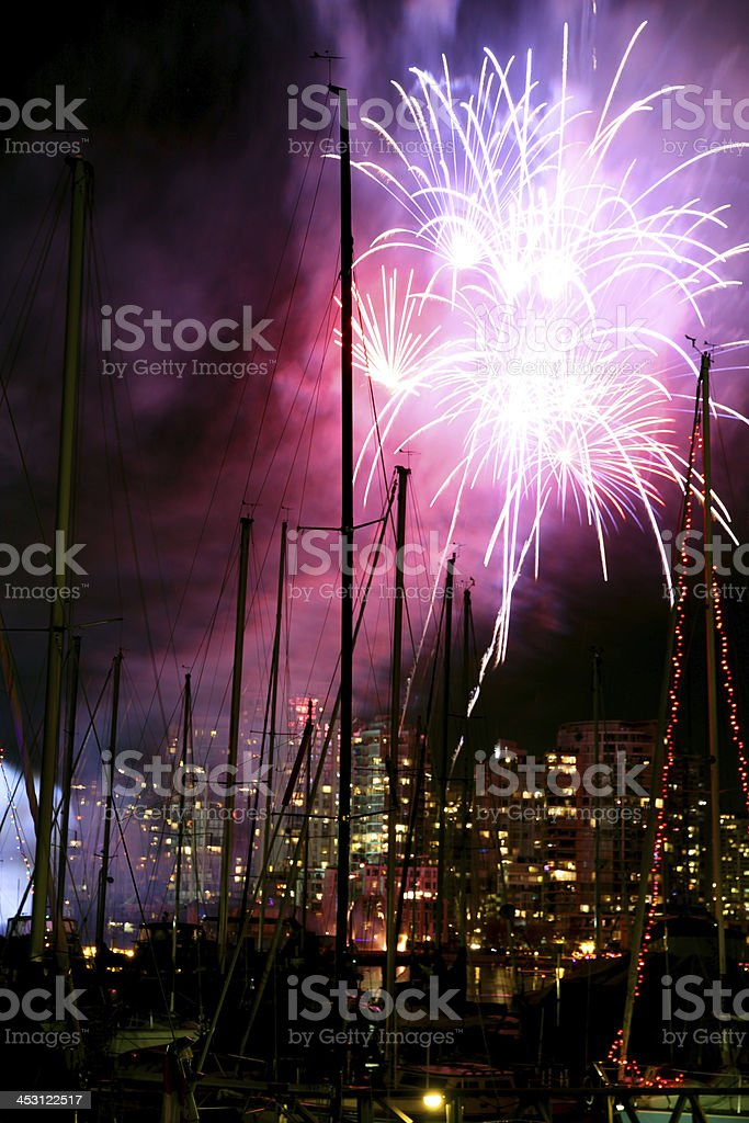 Boats and Fireworks royalty-free stock photo