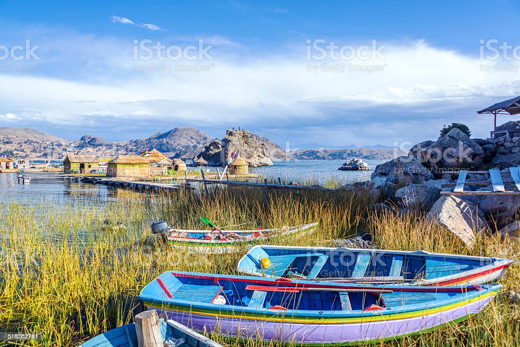 Boats and Floating Islands stock photo