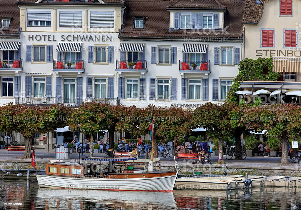 Boats and historic buildings in Rapperswil, Switzerland stock photo