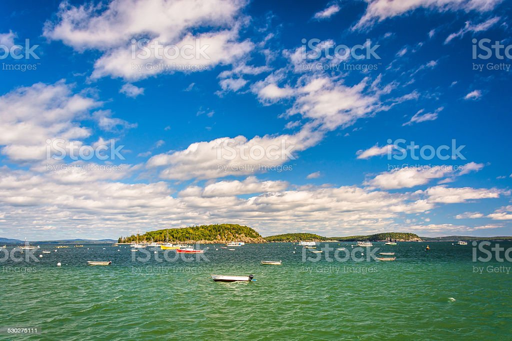 Boats and islands in Frenchman Bay, in Bar Harbor, Maine. stock photo