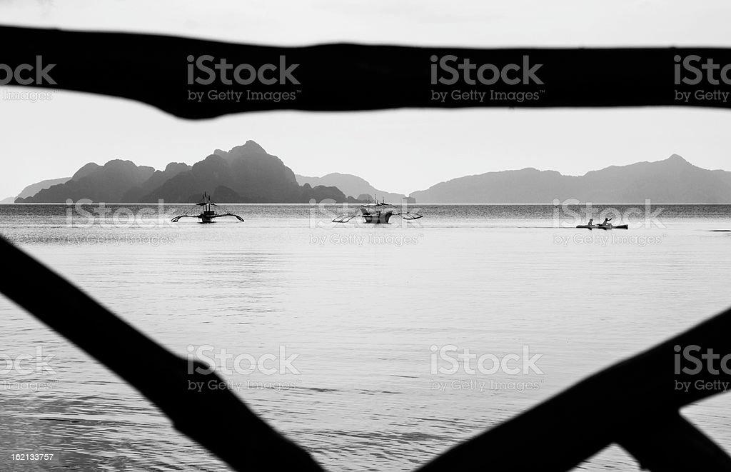 boats and kayak at el nido palawan royalty-free stock photo