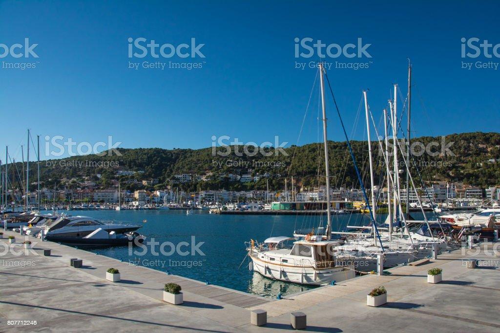 Boats and marina in Estartit city on the Costa Brava stock photo