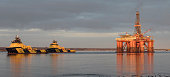 Boats and oil rig in the Cromarty Firth, Scotland