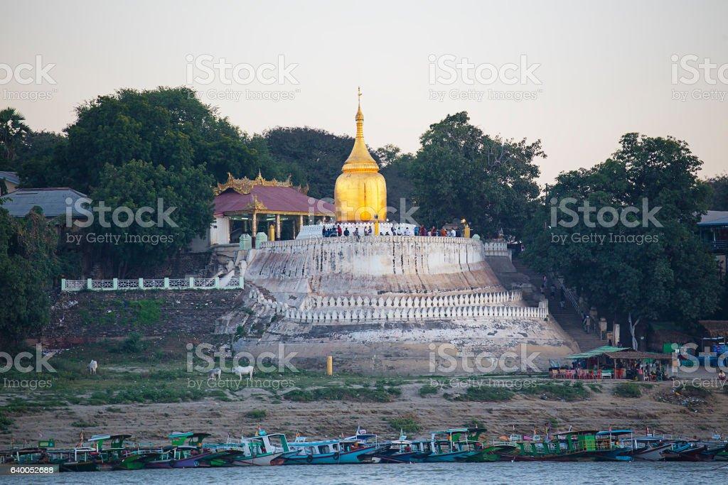 Boats and pagoda stock photo
