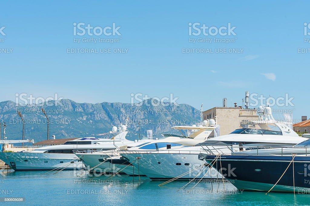 Boats and passenger ships stock photo