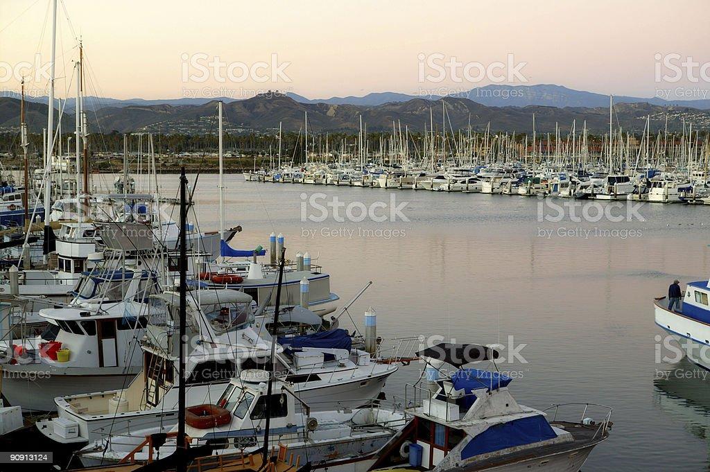 Boats and ships in Ventura, CA Harbor stock photo
