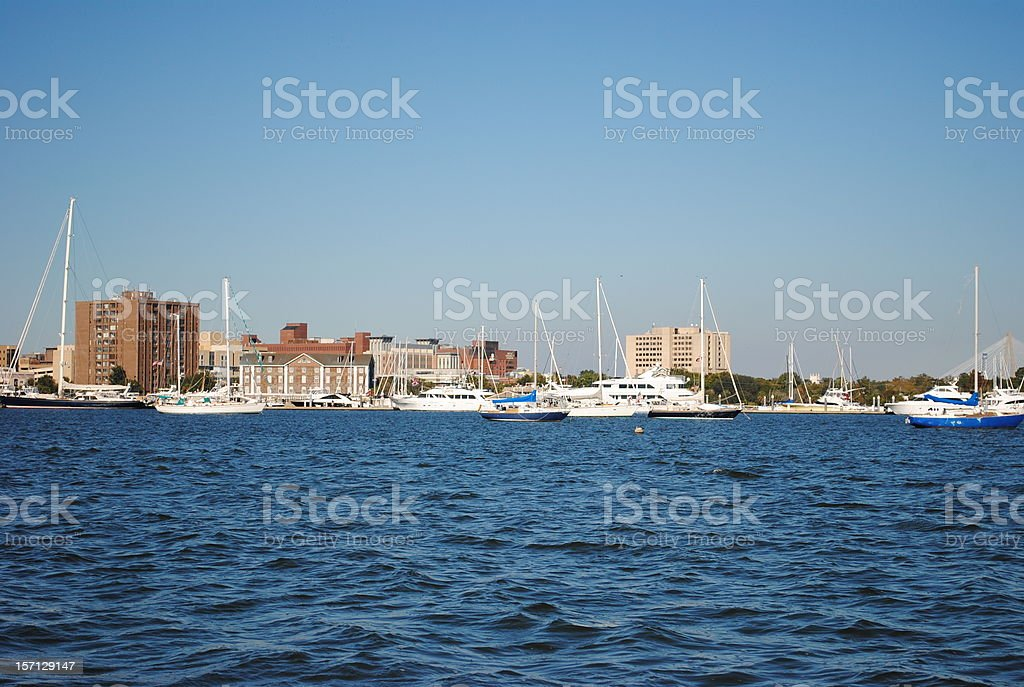 boats and the city of Charleston royalty-free stock photo
