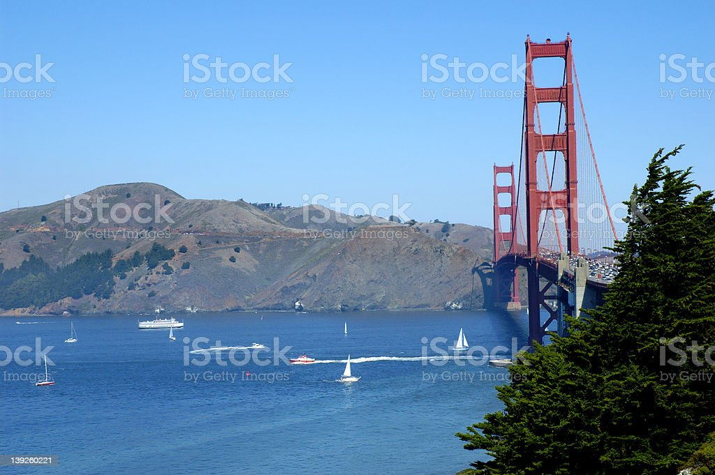 Boats and the Golden Gate Bridge stock photo
