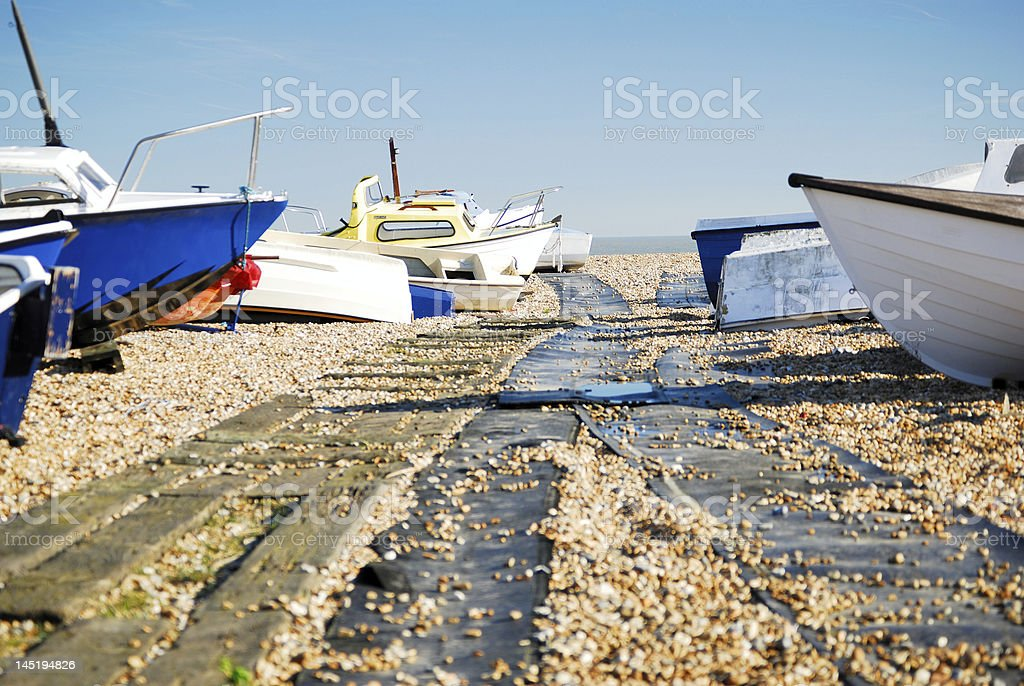 Boats and walkway royalty-free stock photo