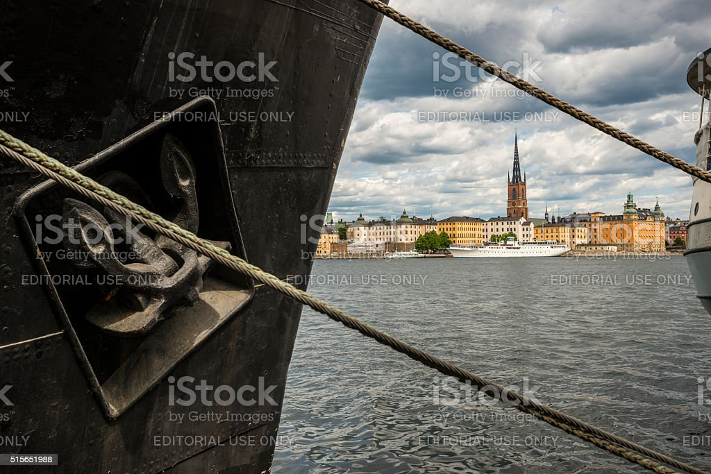 Boats and waterfront scene in Stockholm, Sweden stock photo
