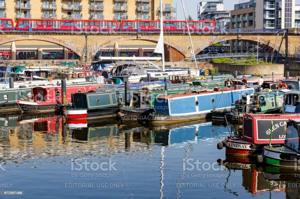 Boats and yacht moored at Limehouse Basin Marina stock photo