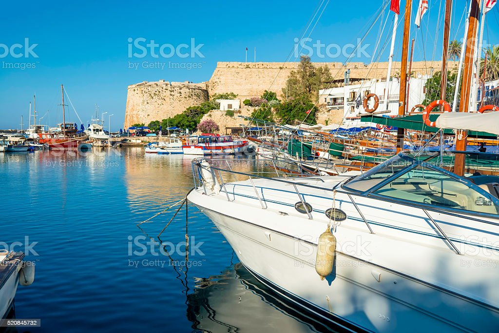 Boats and yachts in a port of Kyrenia (Girne), Cyprus stock photo