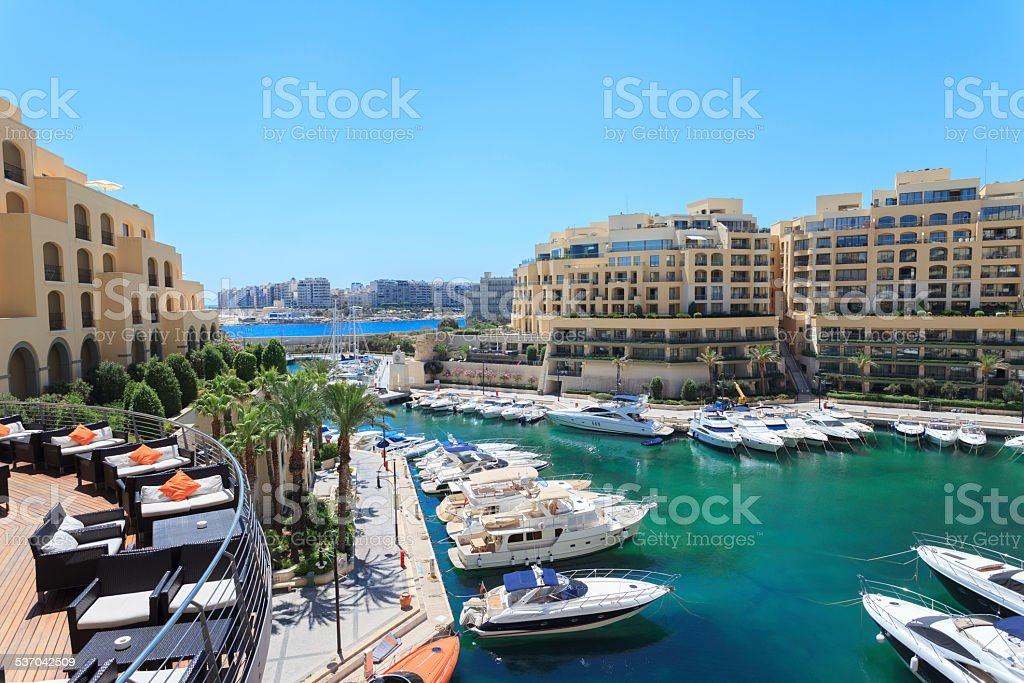 Boats and yachts in St Julian's in Malta stock photo
