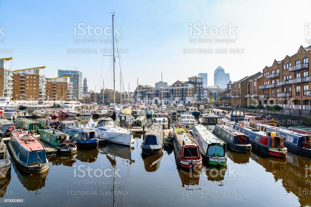 Boats and yachts moored at Limehouse Basin Marina stock photo