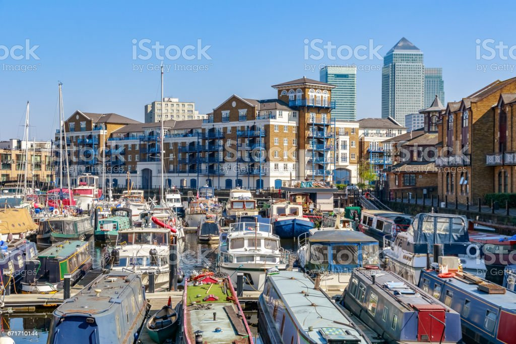 Boats and yachts moored at Limehouse Basin Marina stock photo