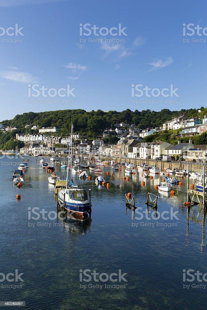 Boats and yachts on Looe river Cornwall England uk stock photo
