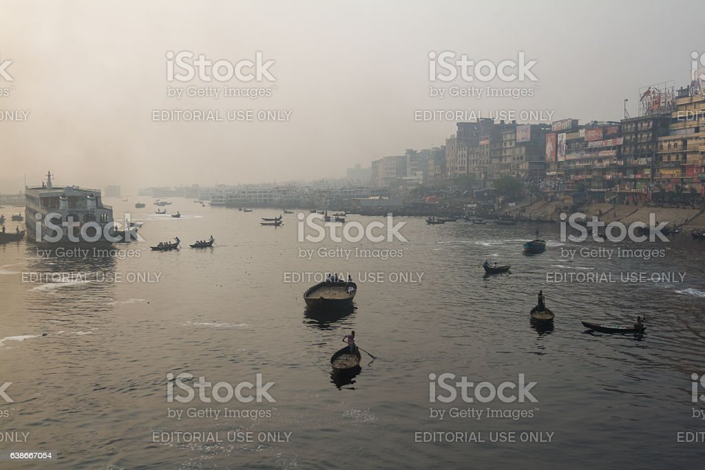 Boats are floating in River to Carry Passengers from Ferry stock photo