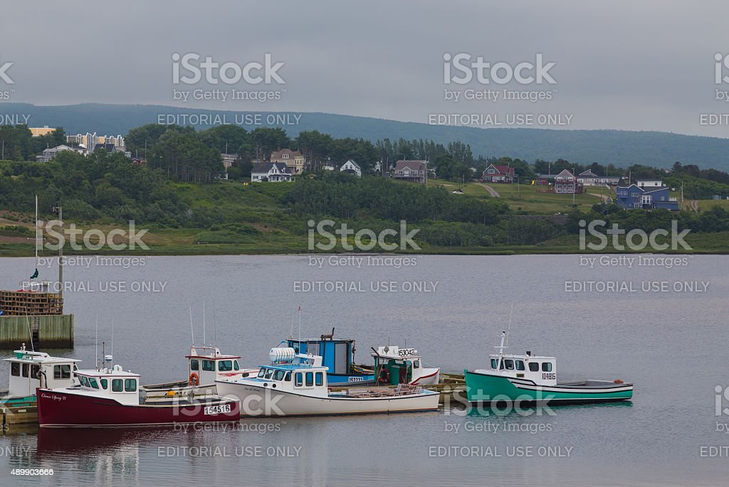 Boats at a Harbour in Inverness, Cape Breton stock photo