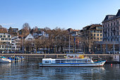 Boats at a pier in Zurich in winter