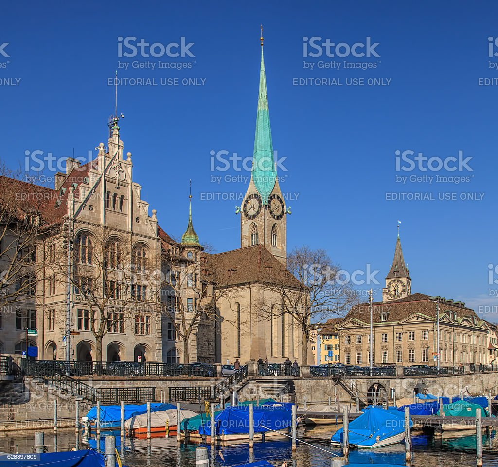 Boats at a pier in Zurich in winter stock photo