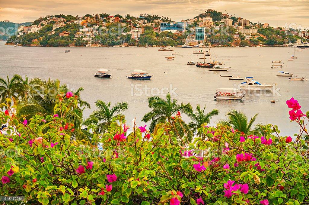 Boats at Acapulco Bay in Acapulco Mexico stock photo