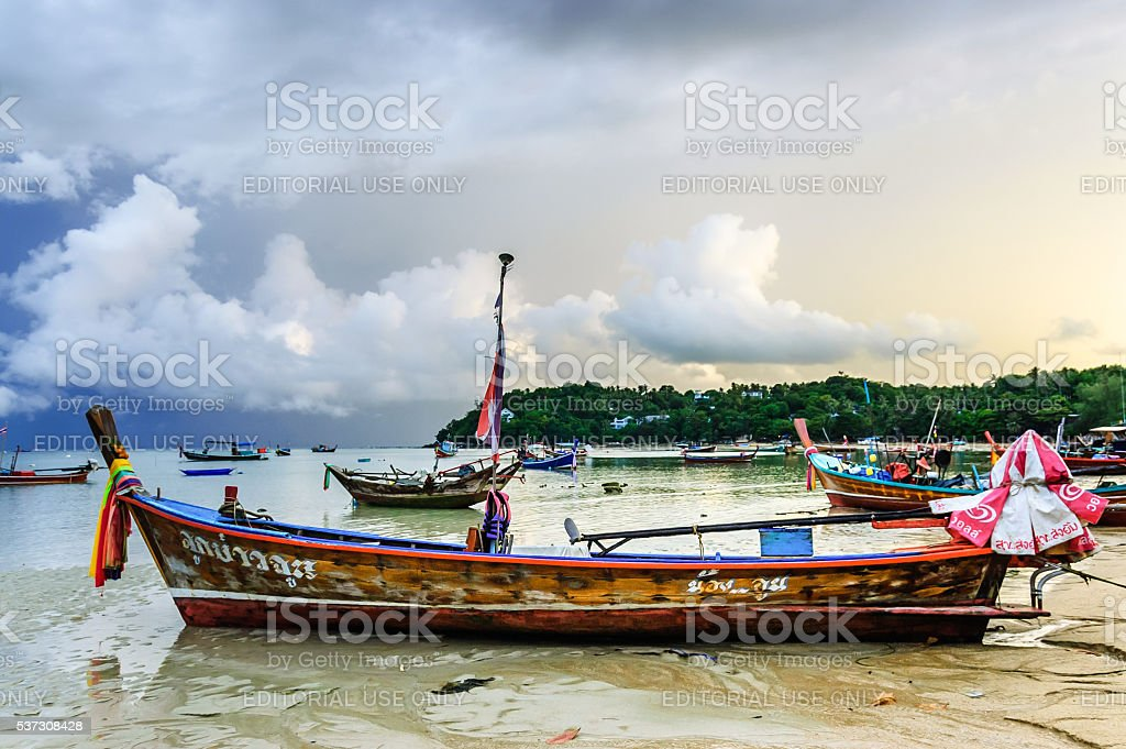 Boats at anchor, Phuket, Thailand stock photo